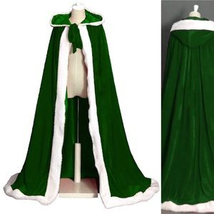Green and White faux fur Cape Cloak Hooded